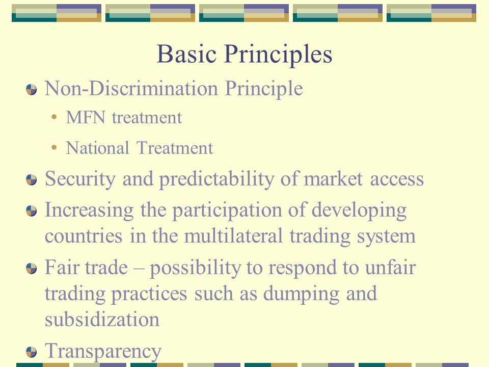 Principles of world trading system
