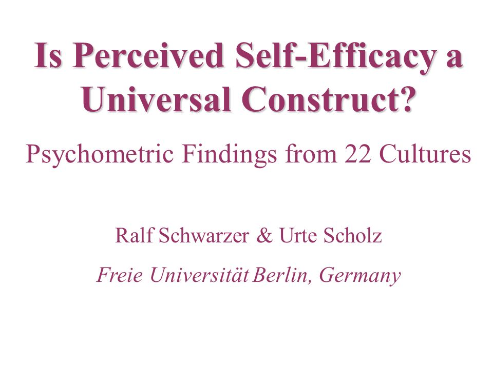 Is Perceived Self-Efficacy a Universal Construct