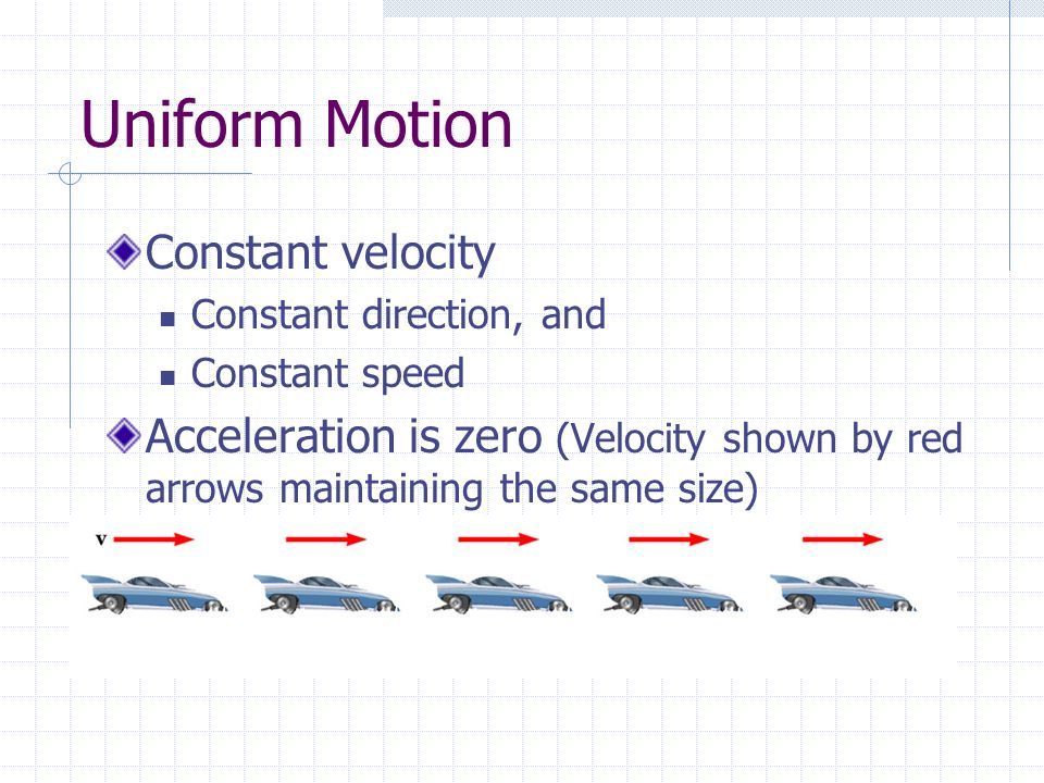 Uniform Motion Constant velocity