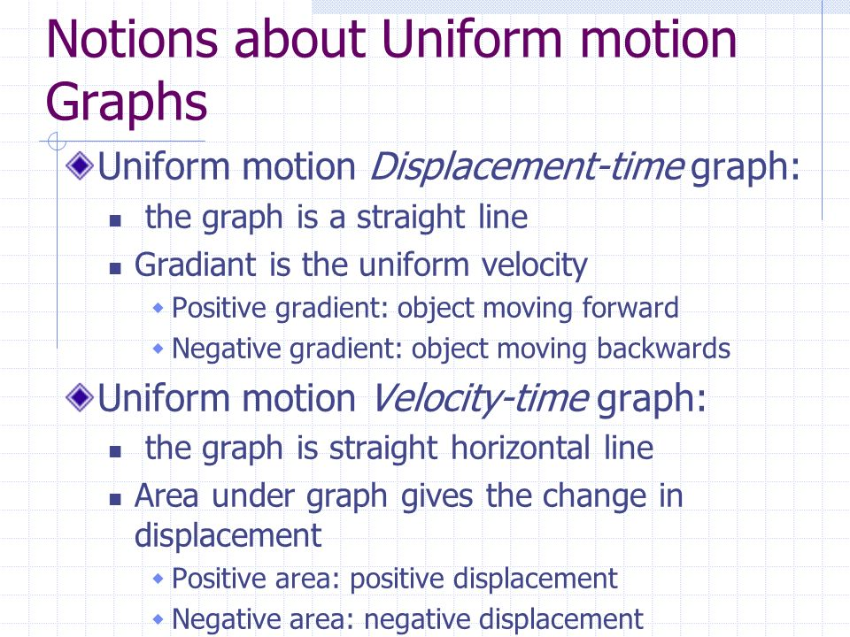 Notions about Uniform motion Graphs