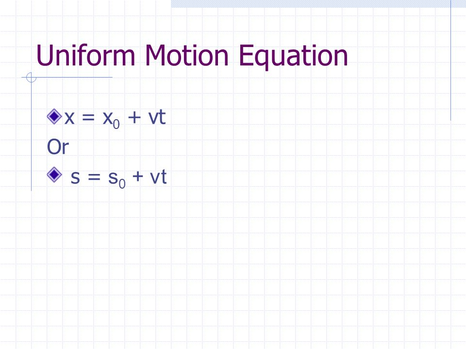 Uniform Motion Equation
