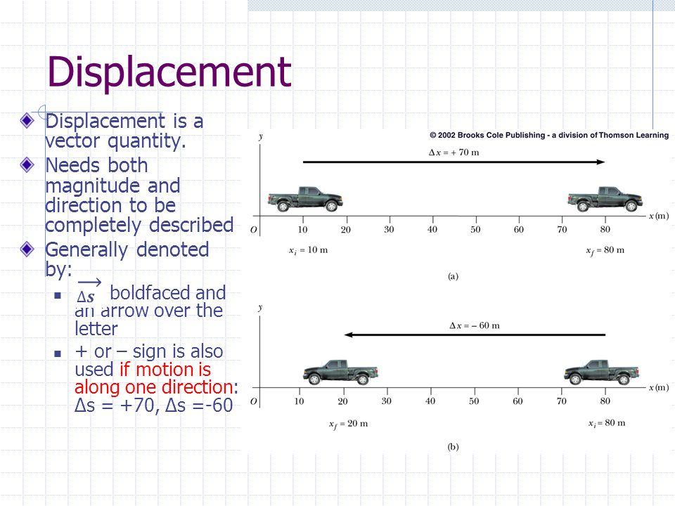 Displacement Displacement is a vector quantity.
