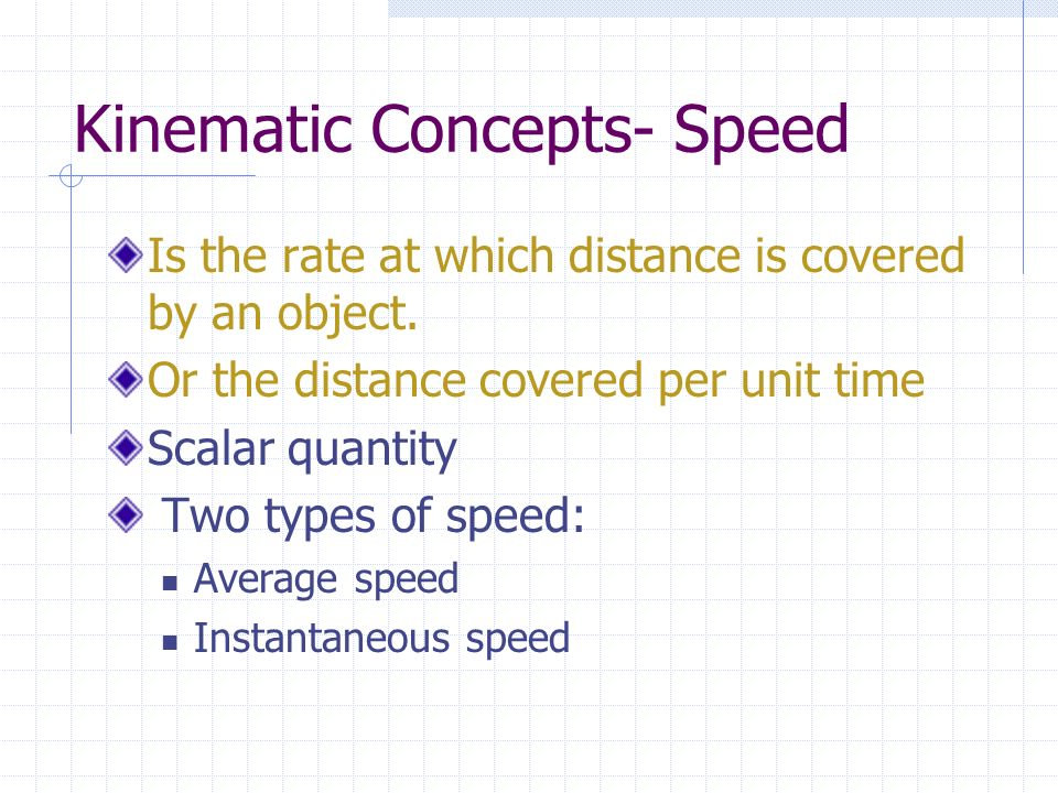 Kinematic Concepts- Speed