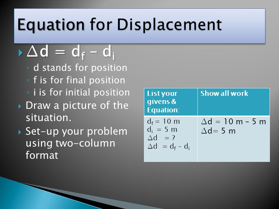 Equation for Displacement