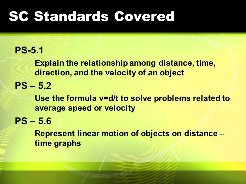 SC Standards Covered PS-5.1 PS – 5.2 PS – 5.6