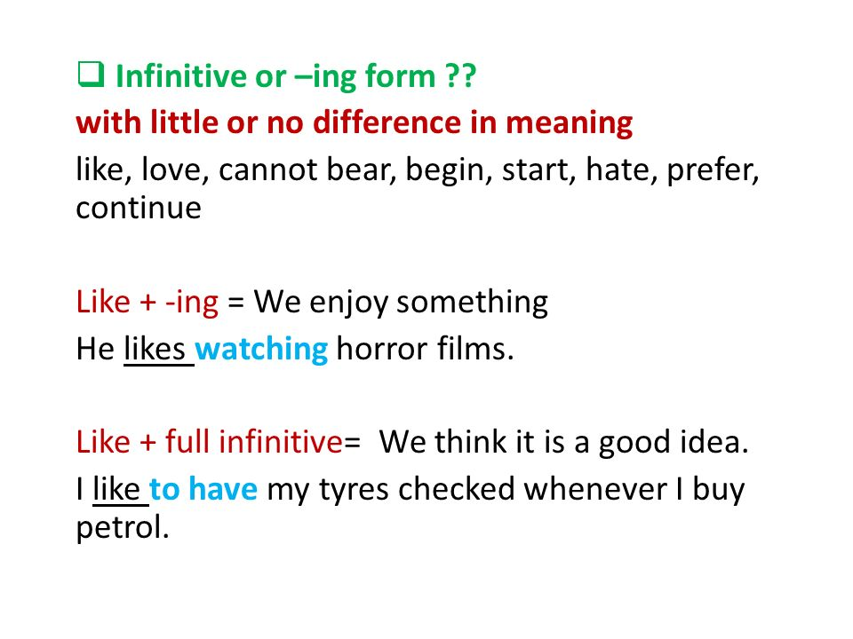 Infinitive or –ing form ?? - ppt video online download