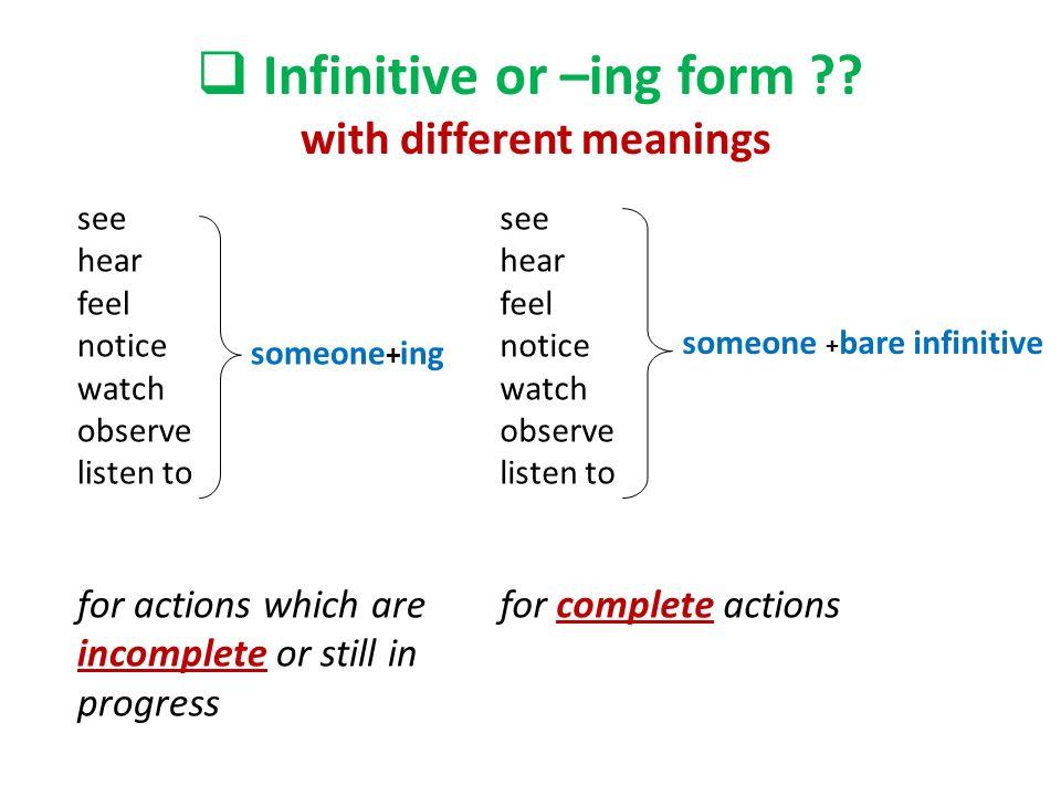 Resultado de imagen de ing form or infinitive