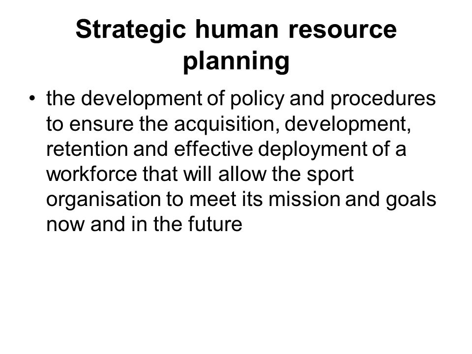 strategic planning and human resource planning