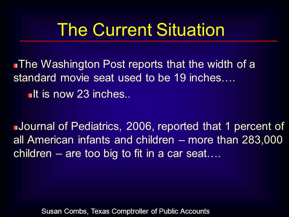 The Current Situation The Washington Post reports that the width of a standard movie seat used to be 19 inches….