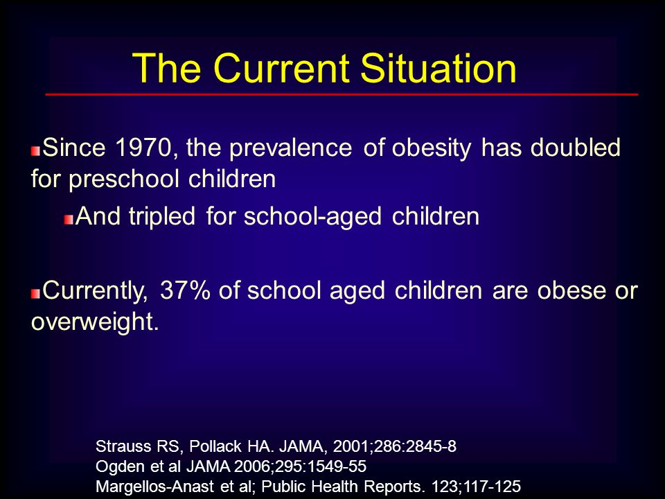 The Current Situation Since 1970, the prevalence of obesity has doubled for preschool children. And tripled for school-aged children.
