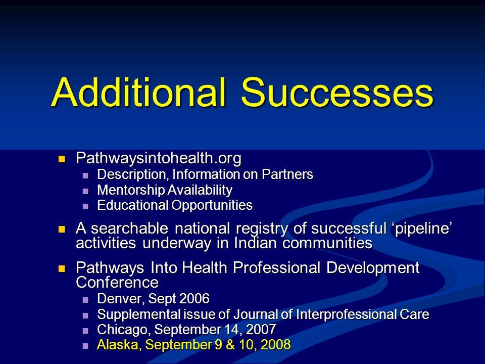 Additional Successes Pathwaysintohealth.org
