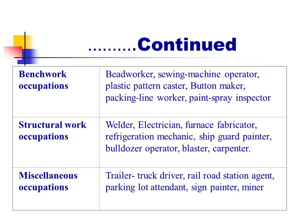 Continued Benchwork Occupations