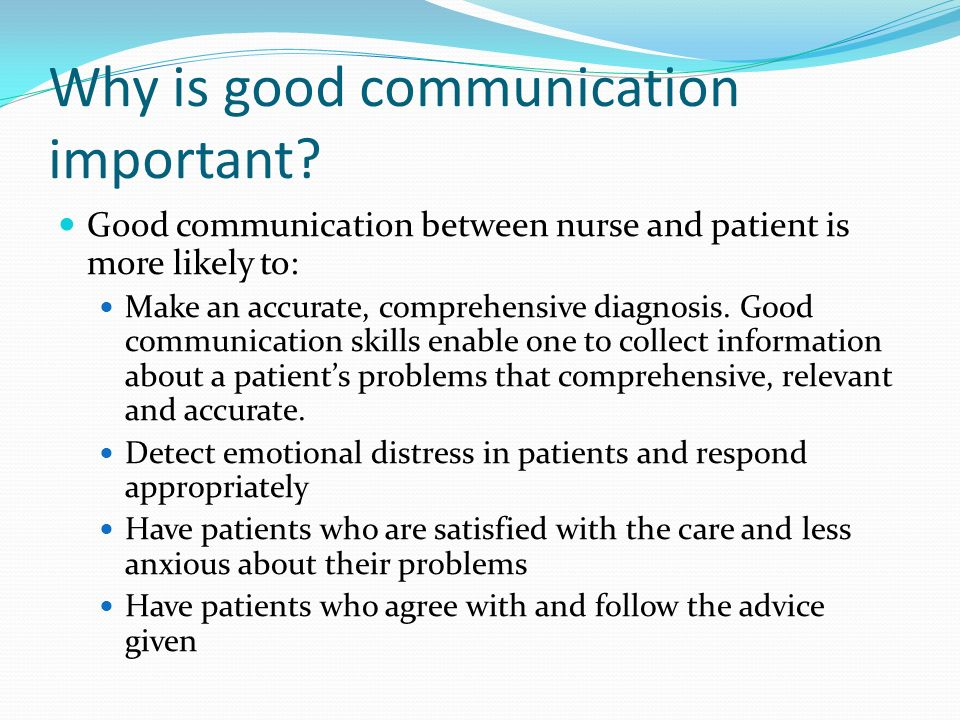 Communication between patient and nurse essay