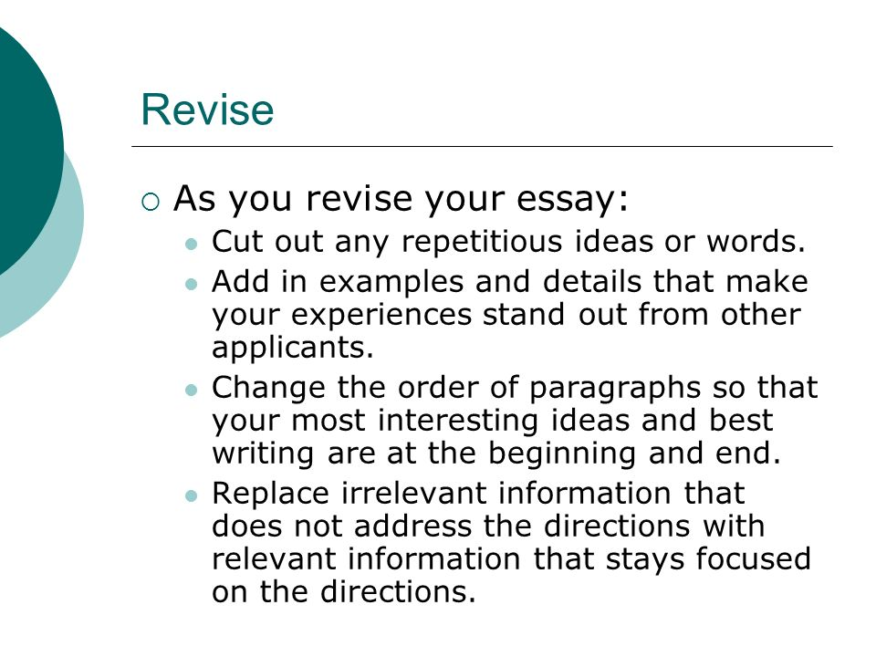 How to revise an essay