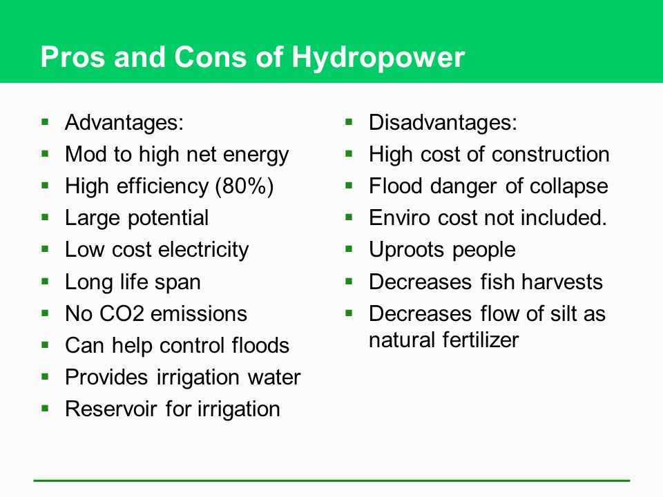 the pros and cons of hydropower essay Find out what the 4 most common alternative energy sources are and their pros and cons  hydropower works by harnessing the gravitational descent of a river that .