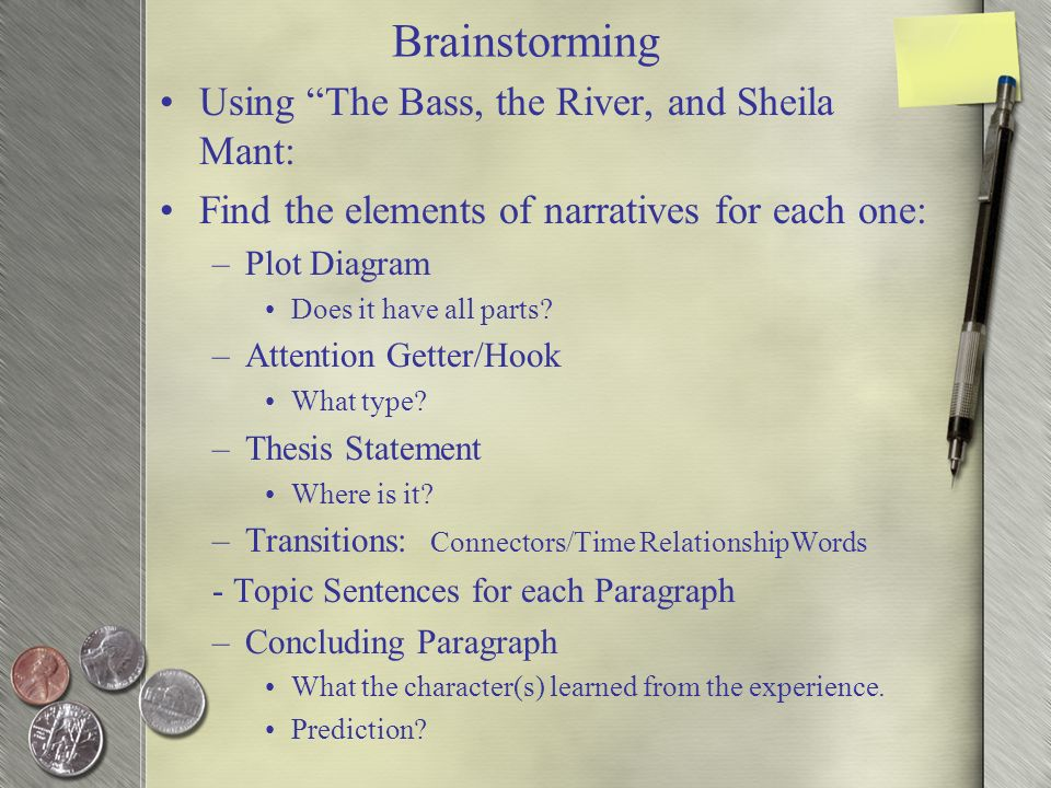 personal narrative ppt video online  brainstorming using the bass the river and sheila mant