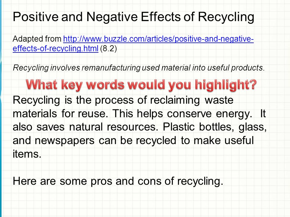 recycling pros and cons essay