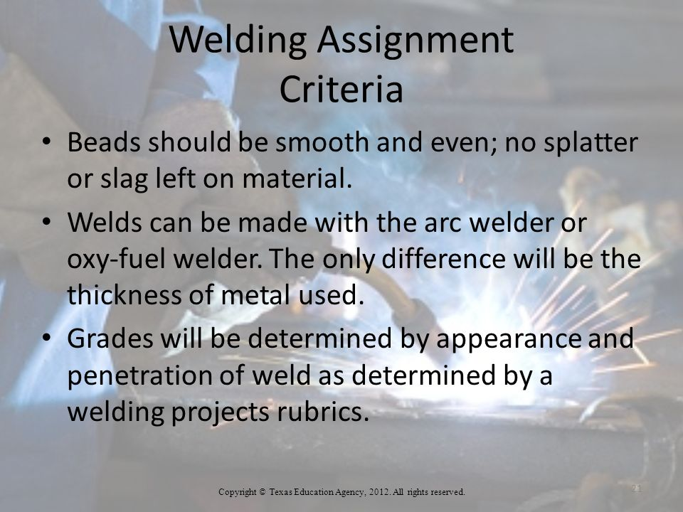 Welding Assignment Criteria