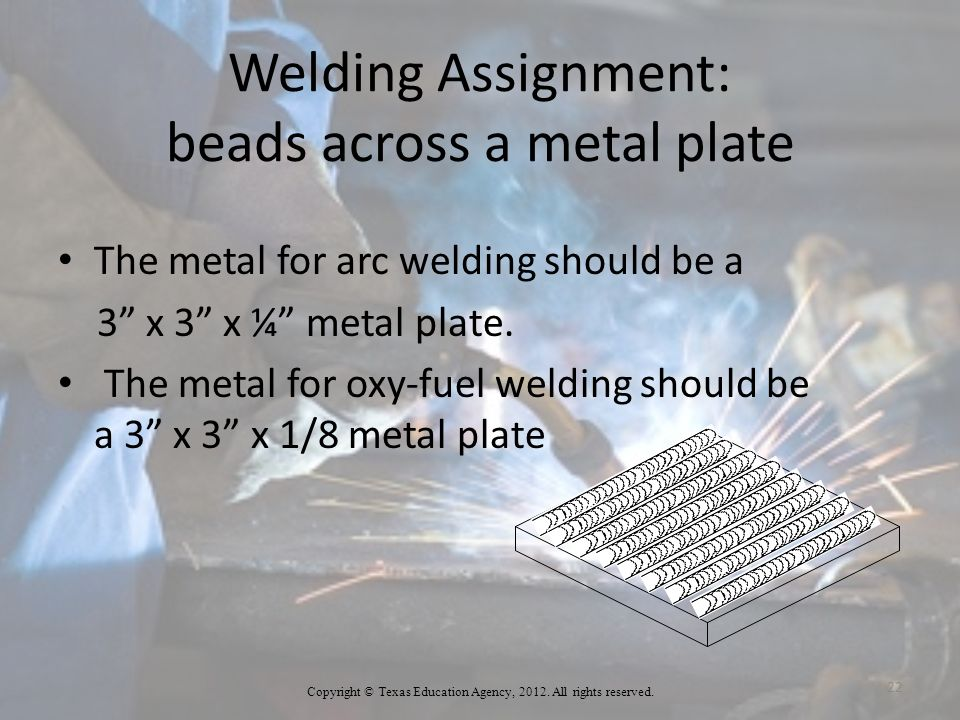 Welding Assignment: beads across a metal plate
