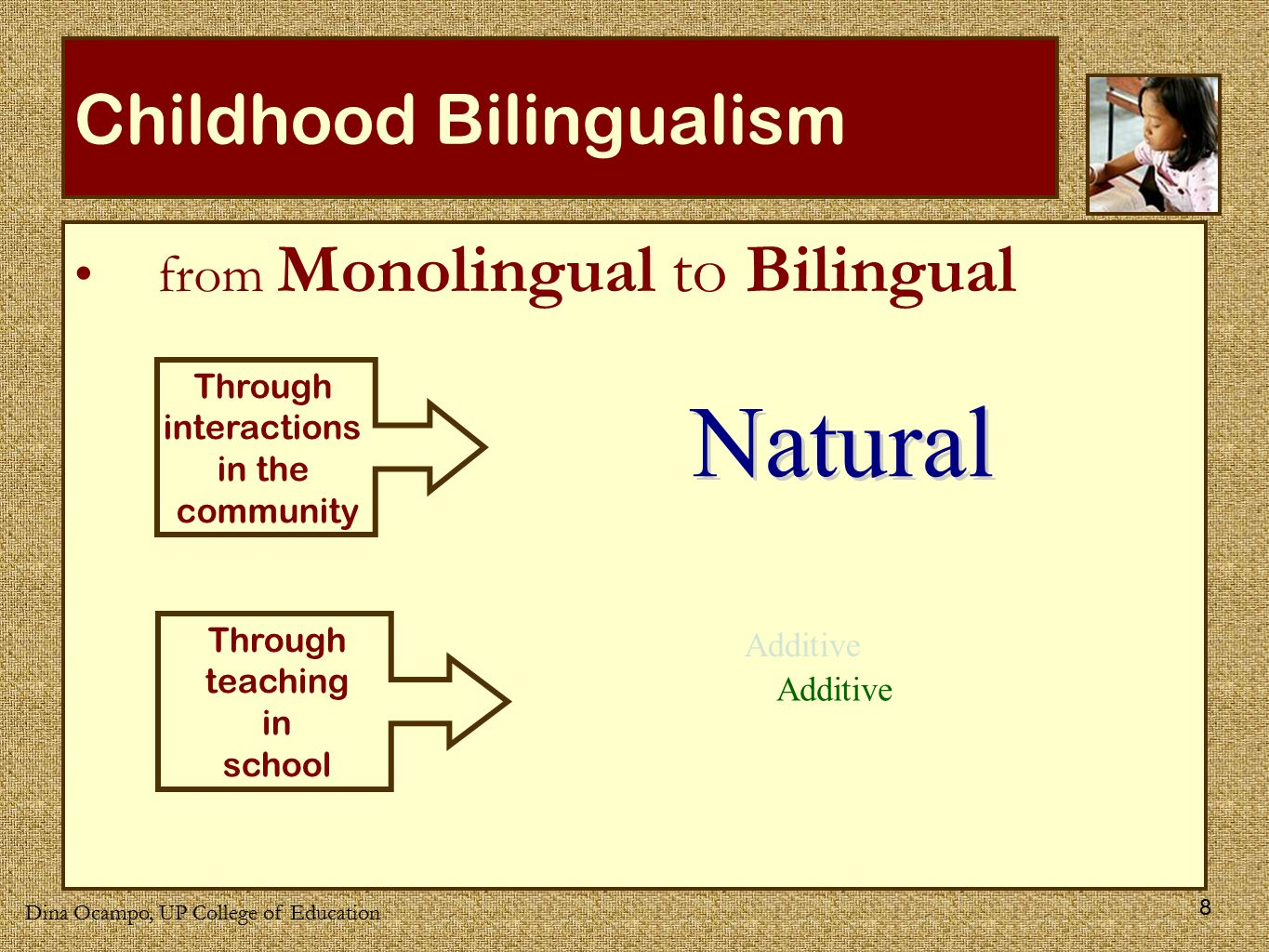 A description of the bilingual education the present system needs to be changed