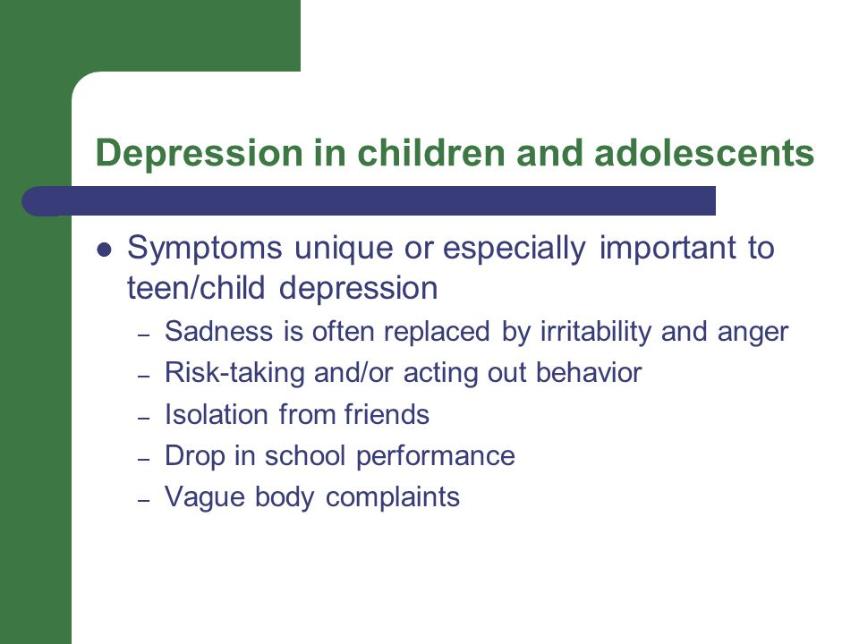 depression in children and adolescents Many people think of depression as an illness only adults suffer from however, children and adolescents can also become depressed in fact, the number of adolescents in the general population.