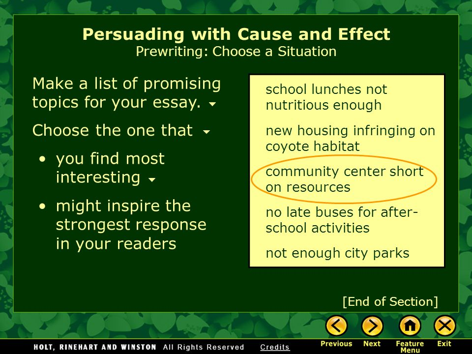 writing workshop persuading cause and effect ppt video  persuading cause and effect prewriting choose a situation