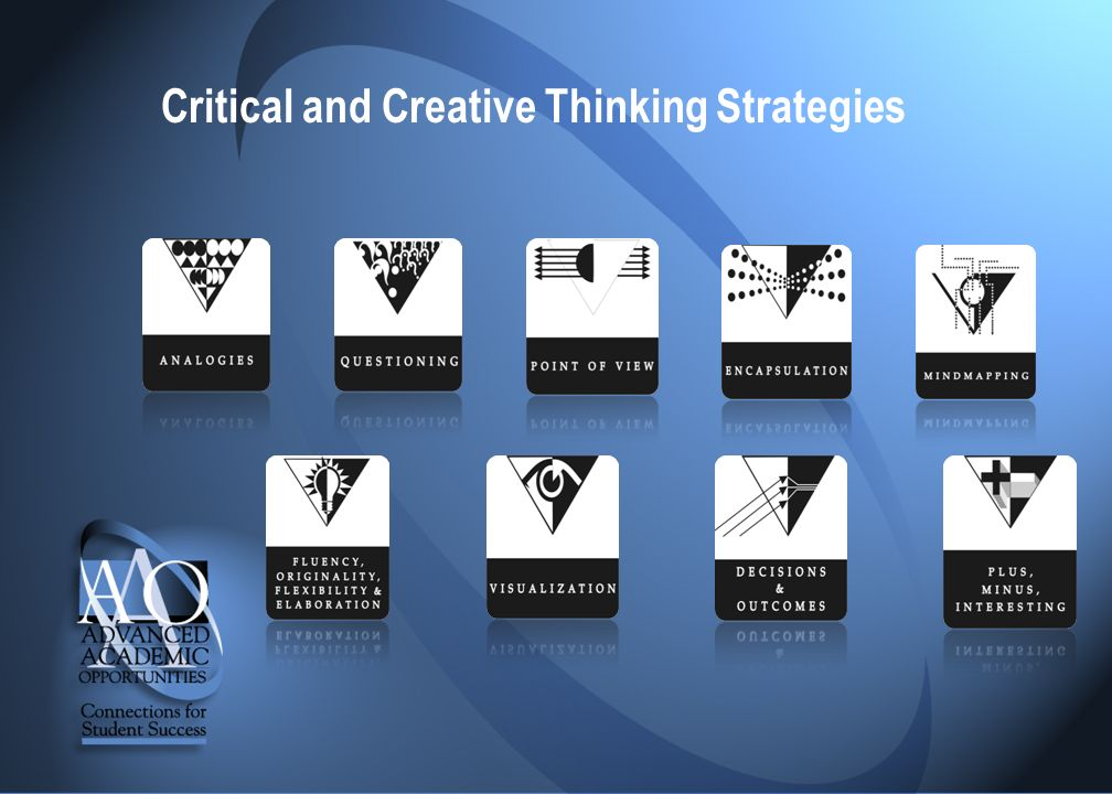 9 critical and creative thinking strategies An abbreviated glossary of critical thinking concepts and strategy list: 35  dimensions of critical thought the 10 habits of highly creative people, applied  to.