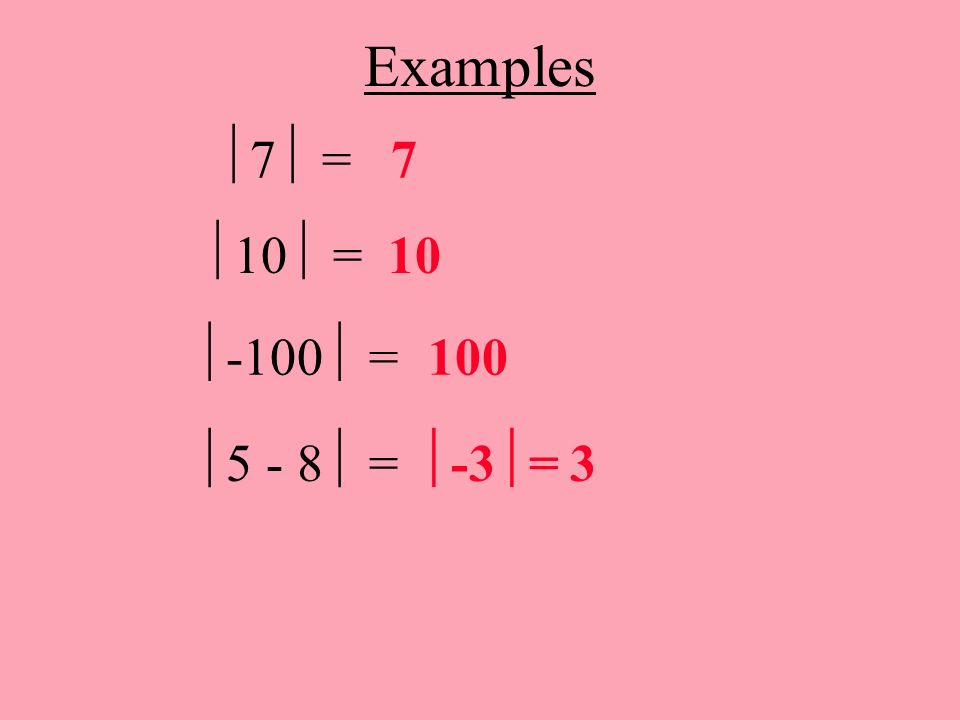 Examples 7 = 7 10 = 10 -100 = 100 5 - 8 = -3= 3