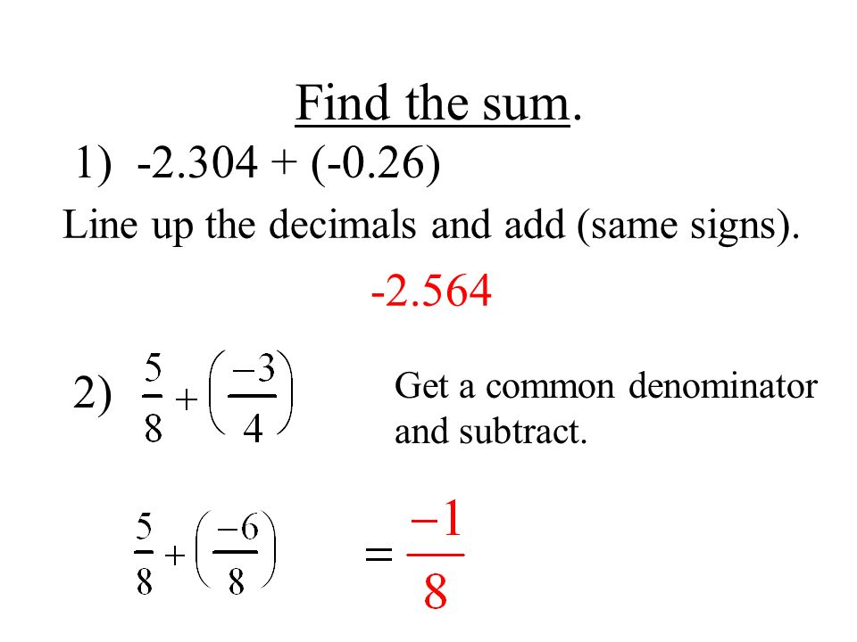 Line up the decimals and add (same signs)