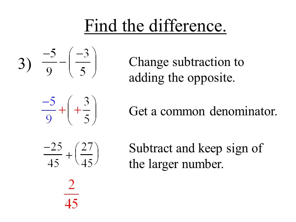 Find the difference. 3) Change subtraction to adding the opposite.