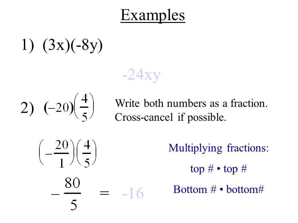 Multiplying fractions: