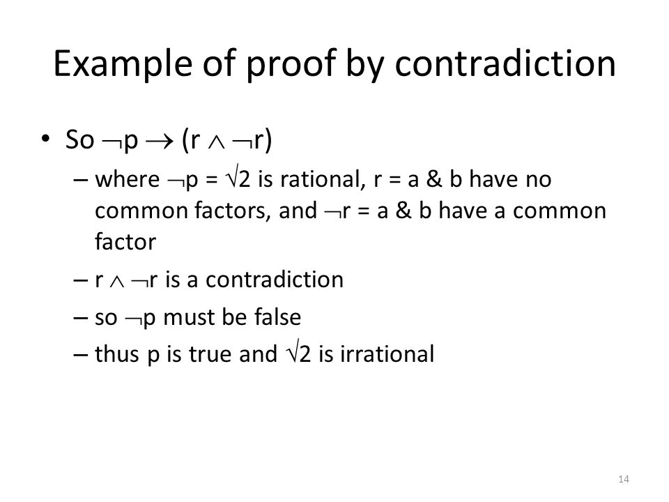 Example of proof by contradiction