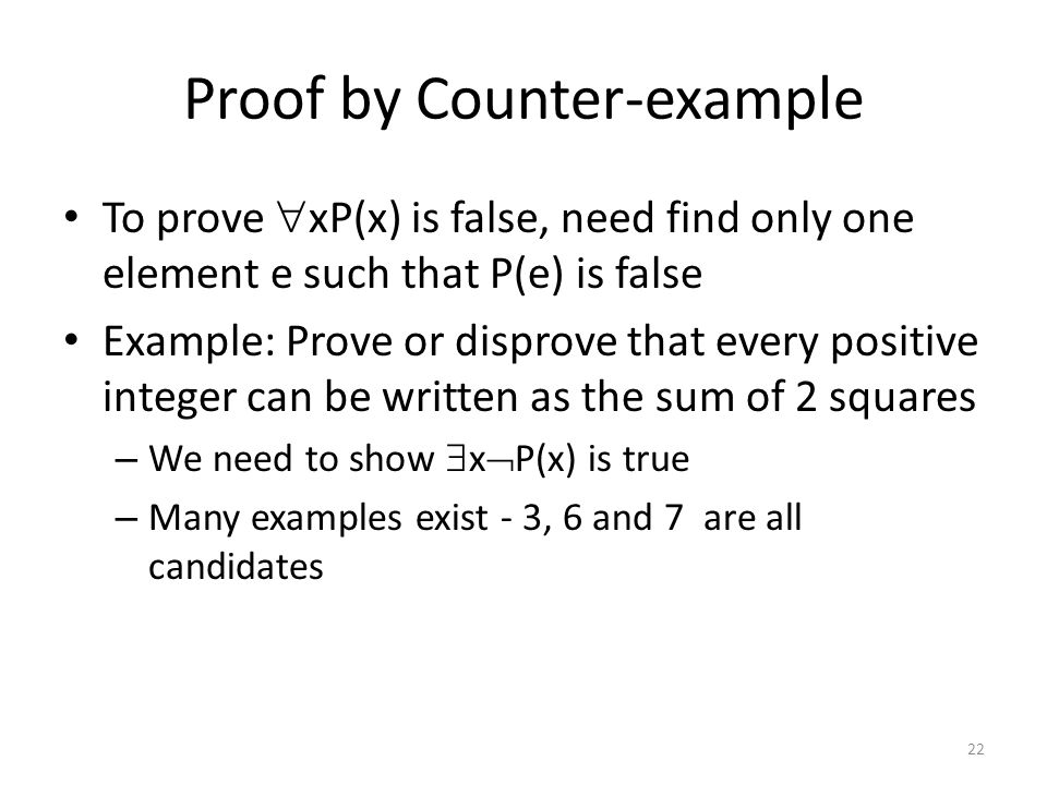Proof by Counter-example
