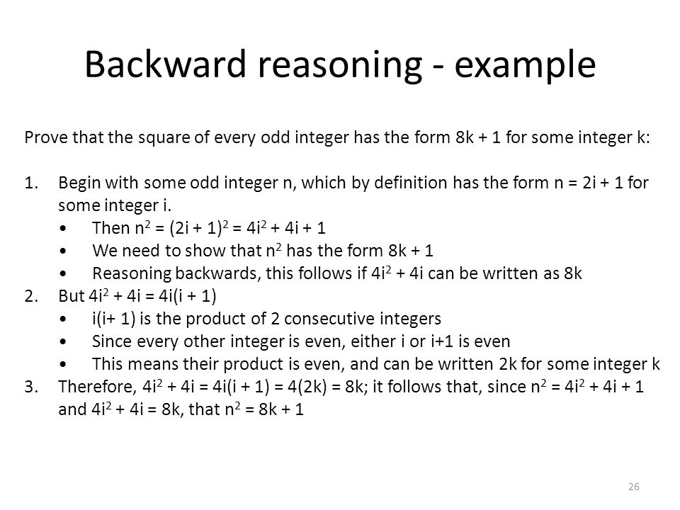 Backward reasoning - example