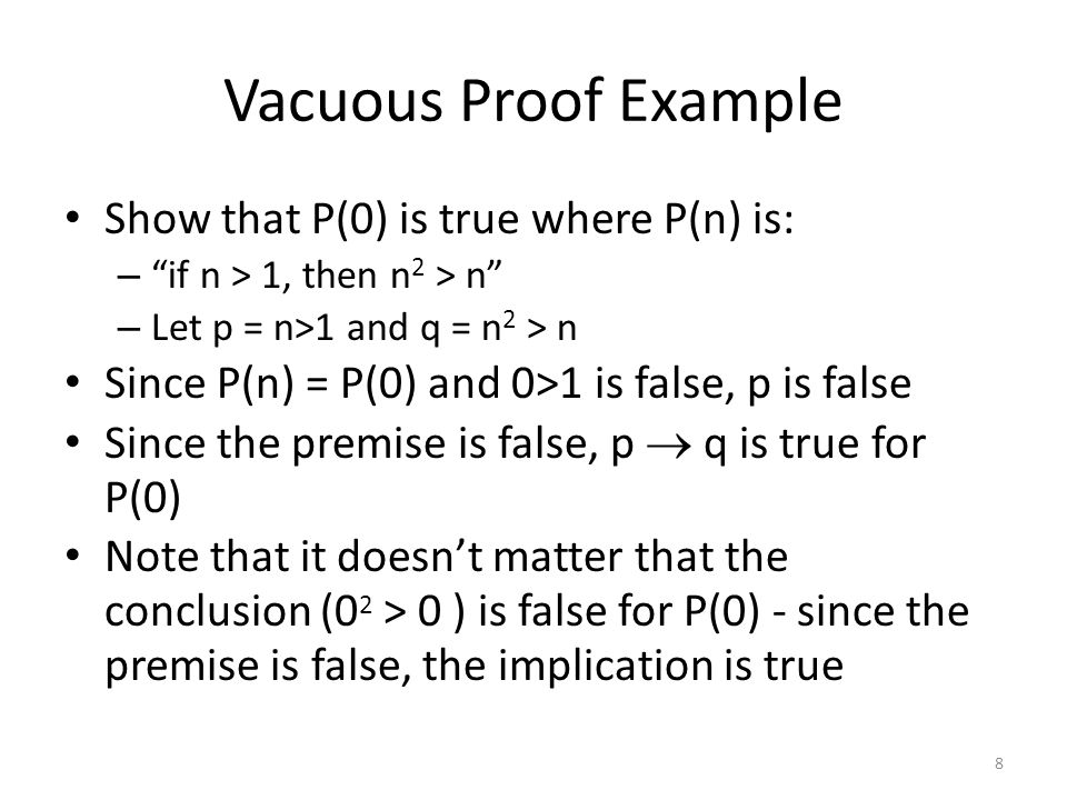 Vacuous Proof Example Show that P(0) is true where P(n) is:
