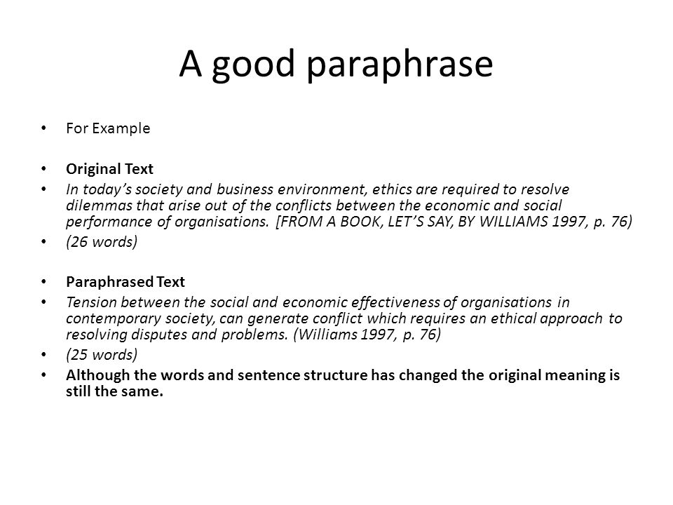 Summarizing and paraphrasing examples pdf