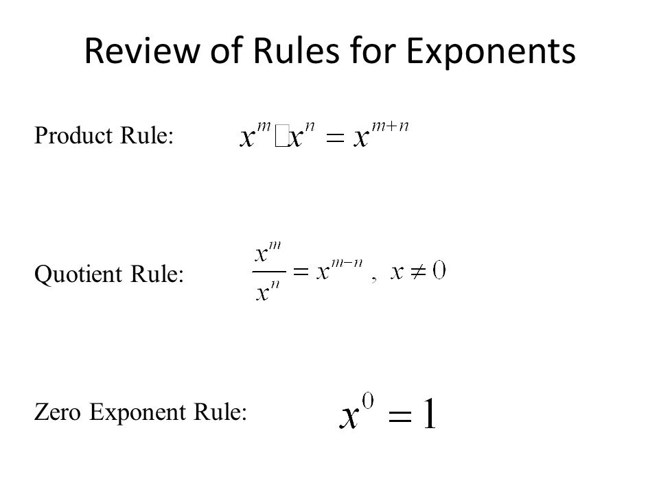 Review of Rules for Exponents