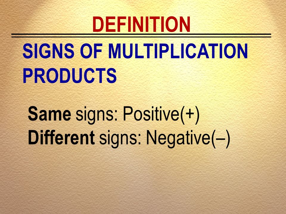 DEFINITION SIGNS OF MULTIPLICATION PRODUCTS Same signs: Positive(+)