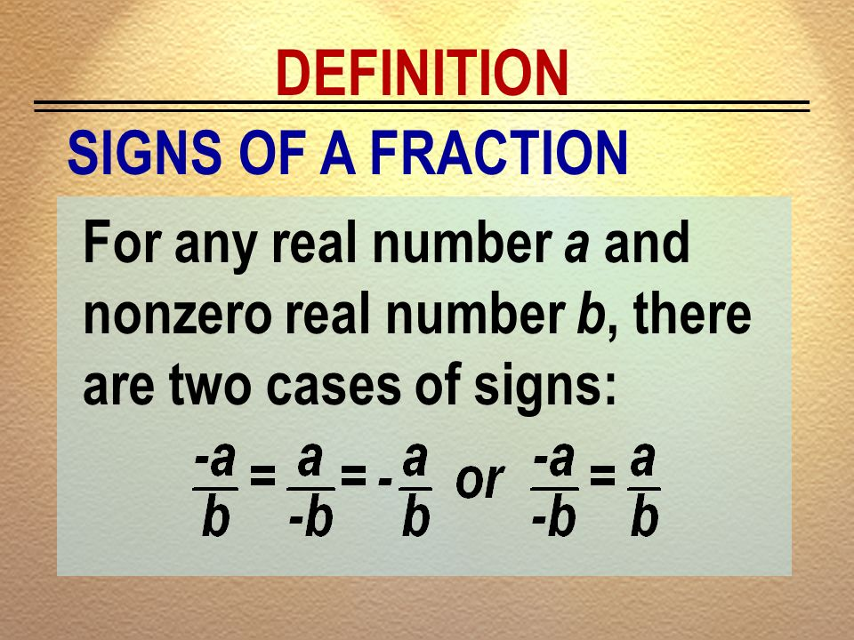 DEFINITION SIGNS OF A FRACTION