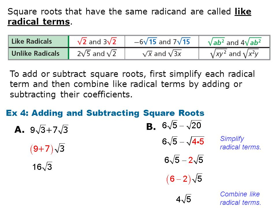 math worksheet : or 5 the side length of a square is the square root of its area  : How To Subtract Square Roots