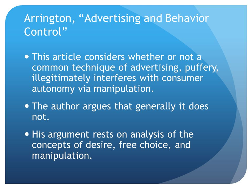marketing advertising information and vulnerability ppt  arrington advertising and behavior control