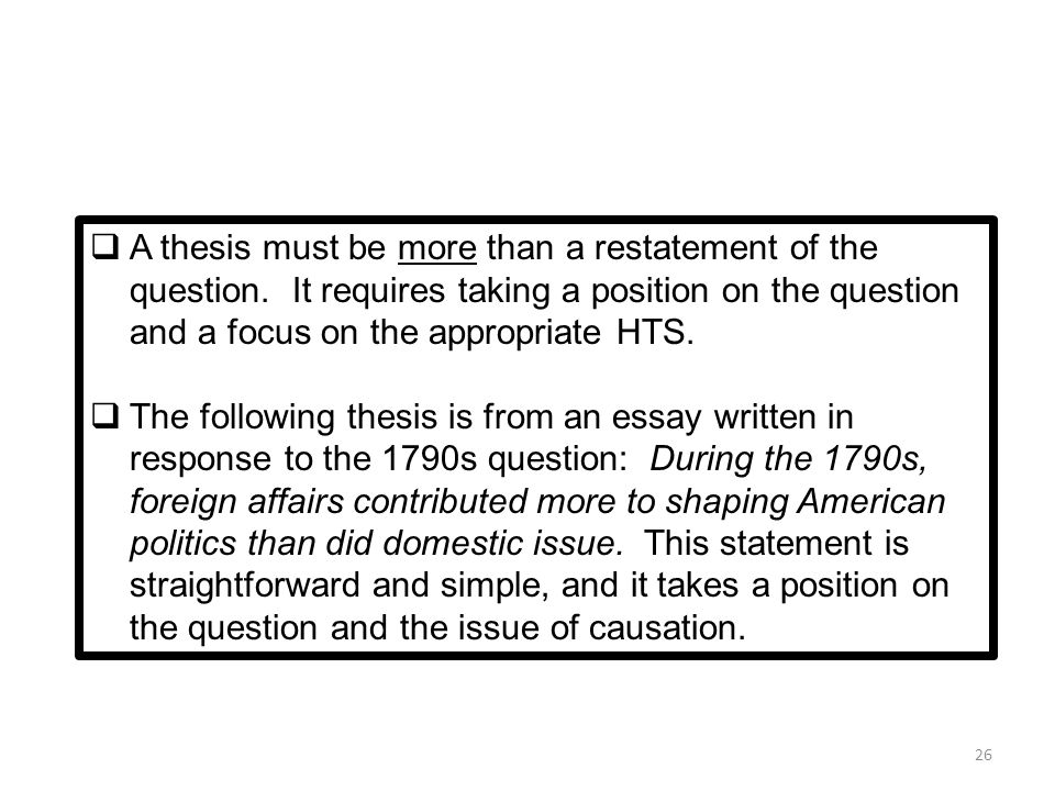 Restatement of the thesis