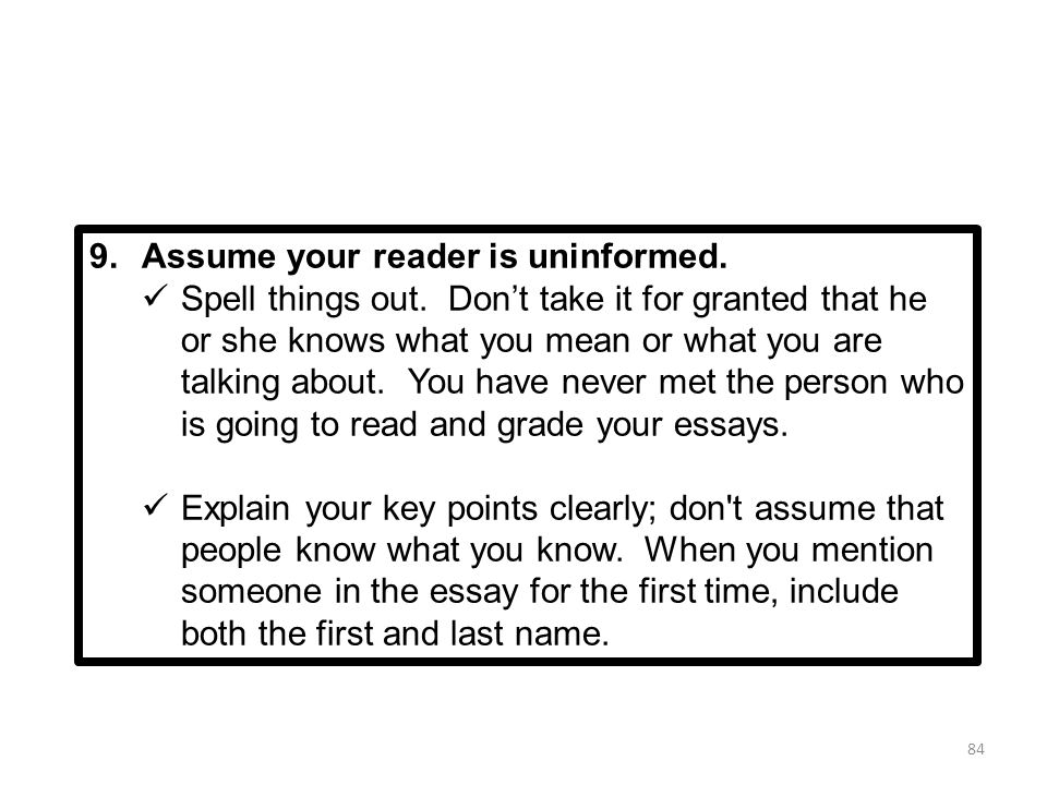 writing the leq ppt  assume your reader is uninformed