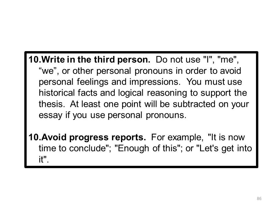 Opinion statement in third person essay