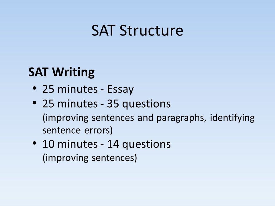 write sat essay 25 minutes Next comes the writing and language test, comprised of 44 multiple-choice  questions you'll have 25 minutes to complete this part of the test.