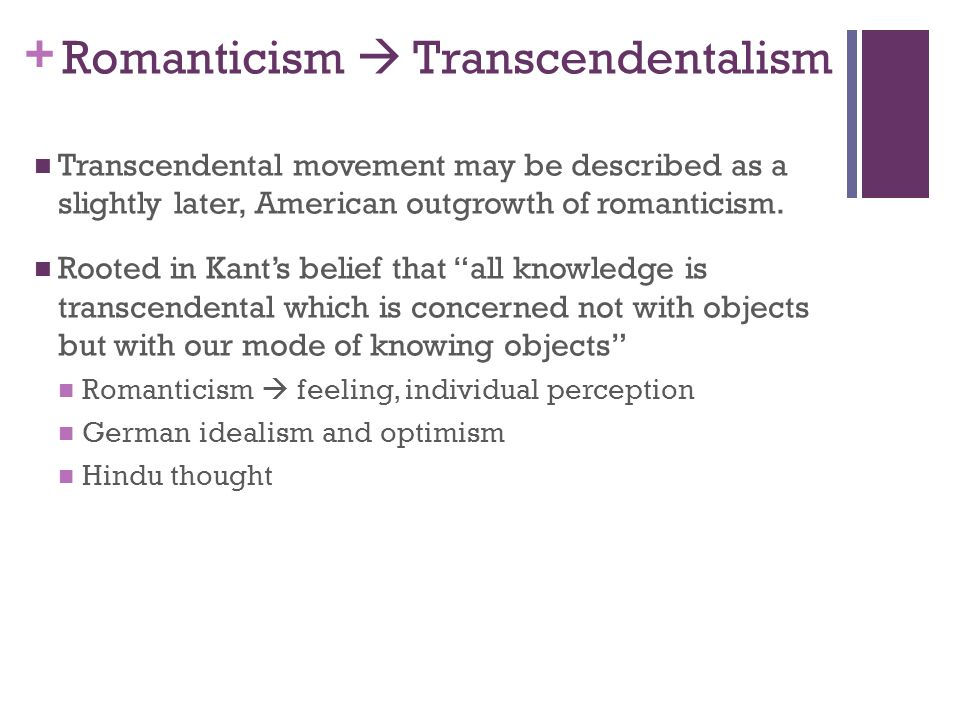 my experiment with transcendentalism essay Free essay: transcendentalism was a literary movement in the first half of the 19th century the philosophical theory contained such aspects as.