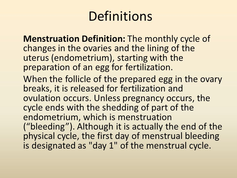 a description of the endometrium in the ovarian cycle By definition, the menstrual cycle begins with the  to bulge from the surface of the ovary and  causes the endometrium to.