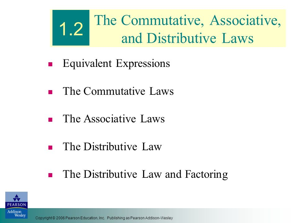 The Commutative, Associative, and Distributive Laws
