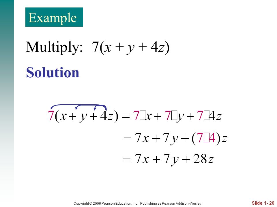 Multiply: 7(x + y + 4z) Solution Example