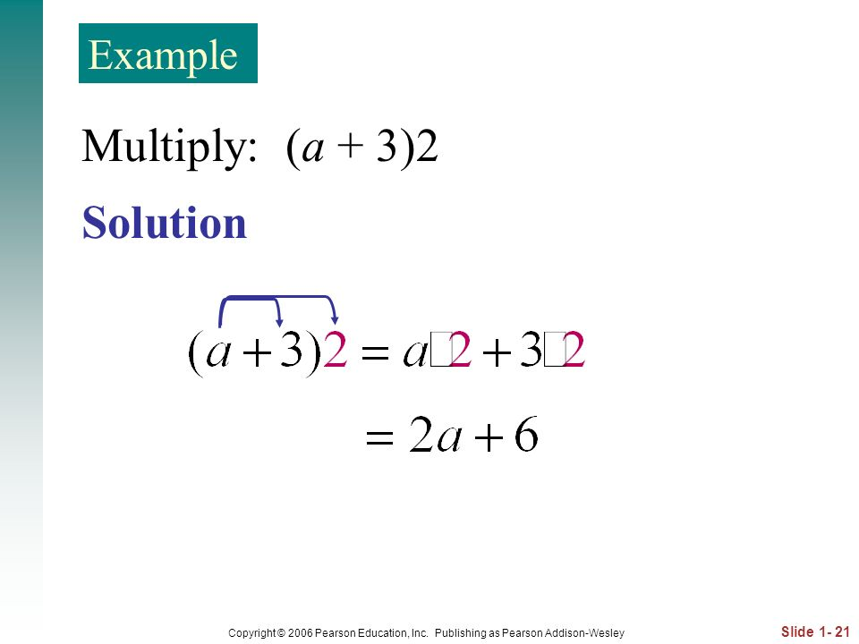 Multiply: (a + 3)2 Solution Example